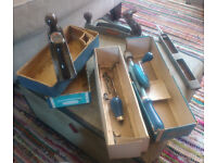 Older woodworking tools (plane, hand drill, files)