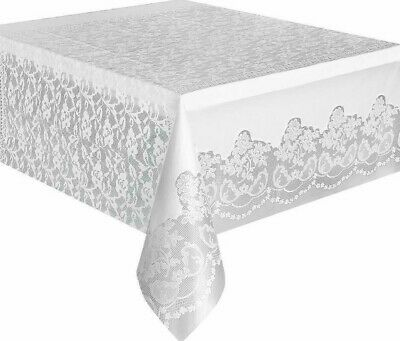 Stylish 9ft Floral Lace White Plastic Tablecloth Decorative Party Table Cover](Plastic Tablecloths Decorating)