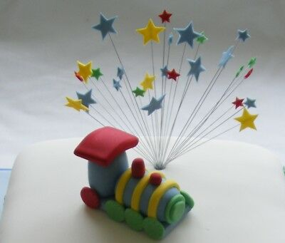 ANDMADE cake decs - MULTI COLOURED TRAIN & wired STAR TOPPER (Cake Saver)