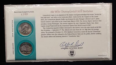 1999 Connecticut Official First Day Coin Cover (Q14) UN Official First Day Coin Cover