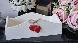 Shabby Chic Cream Wooden Box Tray Makeup Jewellery Storage Hearts Detail