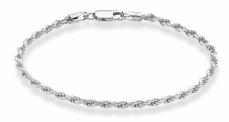 Womens Men 925 Sterling Silver Italy Stamped Rope Bracelet 2mm 8 Inches Bracelet Fine Bracelets