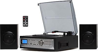 3 Speed Stereo Record Player System with Speakers Turntable Cassette SD/USB MP3