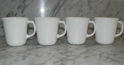 VTG (4) Corning Ware Solid White D Handle Coffee Mugs/Cups Microwave Safe USA](Glass Mugs In Bulk)