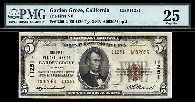 5 1929 First National Bank Of Garden Grove  California Tough Orange County Note