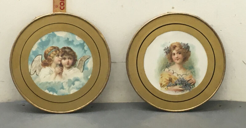 """Pair Of Victorian Flue Covers 8.5"""" Angels Girls & Woman W/flowers"""
