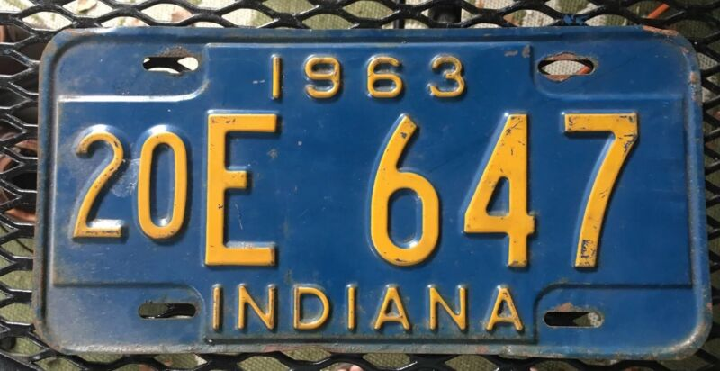 Indiana 1963 License Plate # 20E 647