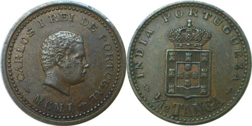 1901 India-Portguese 1/12th Tanga KM# 13 Extra Fine