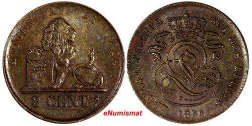 Belgium Leopold I Copper 1856 2 Centimes XF KM# 4.2