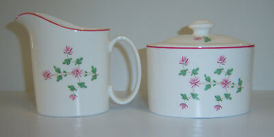 Royal Doulton Sugar W Lid, Creamer RD105 Green Leaf, Pink Flower,rim SET England - $7.75