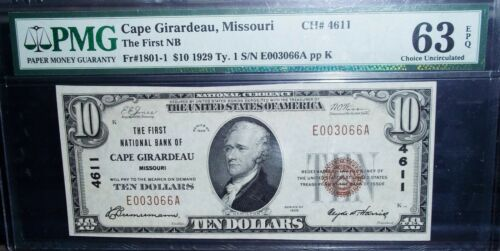 1929 Ty.1 First National Bank of Cape Girardeau, MO CH 4611 PMG UNC 63