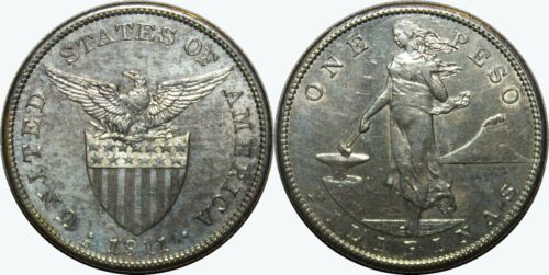 1911-S US/Philippines Peso ~ AU Details ~ A#17.06 ~ 80% Silver ~ MX355