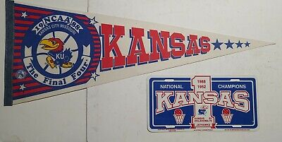 1988 Kansas Jayhawks NCAA Basketball National Champions Pennant & License Plate