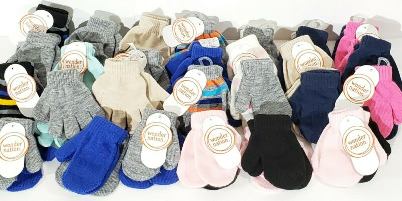 NWT Kids 1-6 Yr Girls Boys Winter Knit Gloves & Mittons Lot Of 27 Packs 54 Pairs