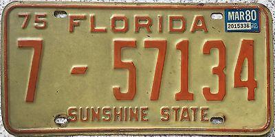 GENUINE 1975 FLORIDA American USA License Number Plate SUNSHINE STATE 7-57134
