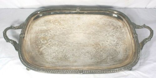 Silverplate Serving Tray Hallmarked Paw Feet Ornate Large & Heavy 25x15