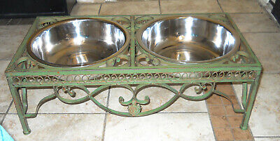 LARGE PET DOG DUAL FEEDER STAND SHABBY FRENCH CHIC FLEUR DE LIS SCROLL CAST IRON
