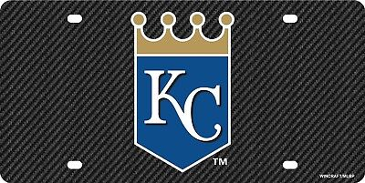 Kansas City Royals Carbon Fiber Premium Laser Tag Acrylic License Plate Baseball