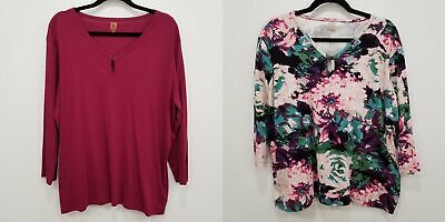 Anne Klein Sport 2 Piece Lot Floral and Berry Blouse Shirt Tops Size 2X