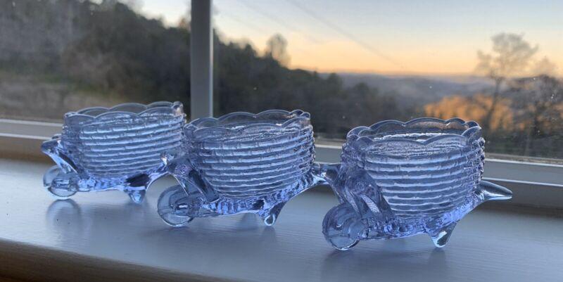 Lot 3 Joe St. Clair Lilac Purple Glass Wheelbarrow  Salt Cellar Toothpick Holder