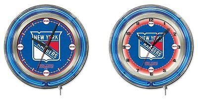 New York Rangers Team Clock - NHL - New York Rangers Double Neon Ring, Logo Clock Hockey Team Logo