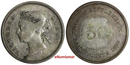 Straits Settlements Victoria Silver 1888 50 Cents Low Mintage-96,000 KM# 13