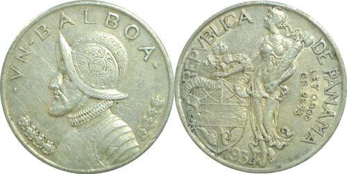 1934 Panama Silver Balboa KM# 13 Very Fine