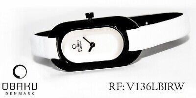 OBAKU V136LBIRW Damenuhr schmale Edelstahl Sportlich  mit schwarz Gehäuse neu