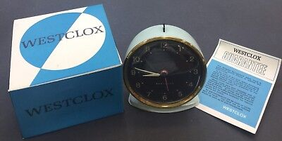 Vintage Westclox Alarm Clock,Metal, Blue, Mechanical, Scotland, New Old Stock