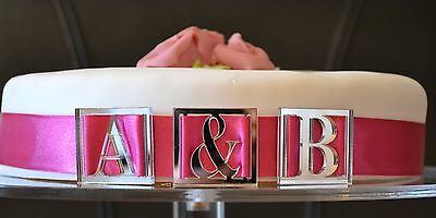 NEW Personalised Wedding cake toppers monogram letters for ribbon x 3 laser cut - Personalized Ribbon For Wedding