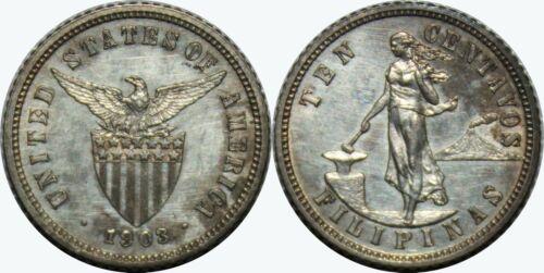 1903 US/Philippines 10 Centavos PROOF ~ UNC Details/Impaired ~ Silver ~ MX422