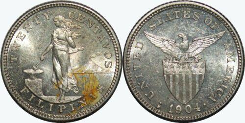 1904-S US/Philippines 20 Centavos ~ UNC Details ~ Allen#10.04 ~ Silver ~ MX90