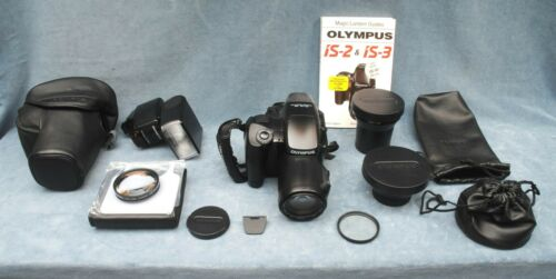 """OLYMPUS IS-3 DLX 35MM FILM """"BRIDGE"""" OUTFIT WITH TWO LENSES, FLASH, IB"""