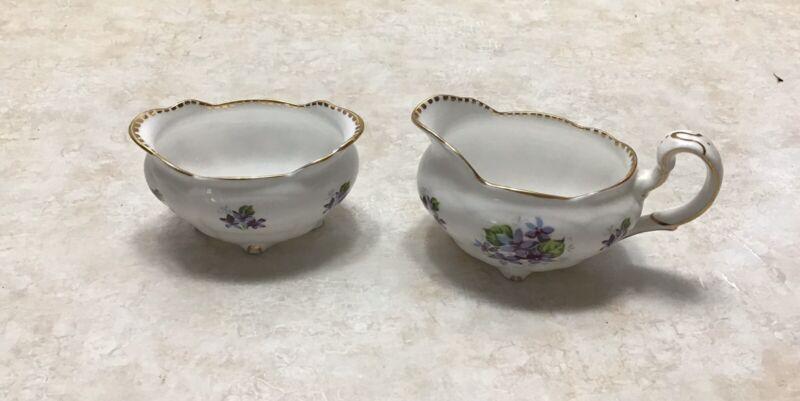 2 Pc Royal Stafford Bone China England Sweet Violets Mini Creamer & Sugar Bowl