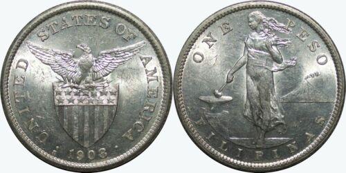 1908-S US/Philippines Peso ~ Choice AU ~ 80% Silver ~ Allen#17.03 ~ MX137
