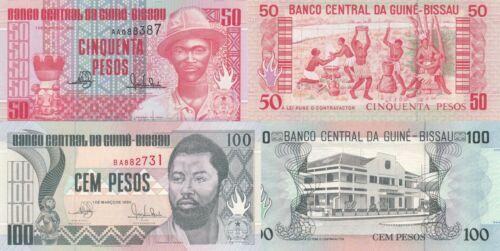 Guinea-Bissau 2 Note Set: 50 &100 Pesos (1.3.1990) p10, & p11 UNC