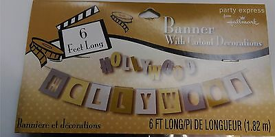 6 ft HOLLYWOOD BANNER with Cutouts Oscars Award Hollywood Theme Party