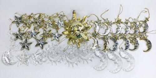 Celestial Astrology Space Sun Moon Stars Santa Lucite Christmas Ornaments X 34