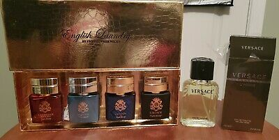 Mens Cologne Fragrance Lot Used Preowned - Versace L'Homme English Laundry Set
