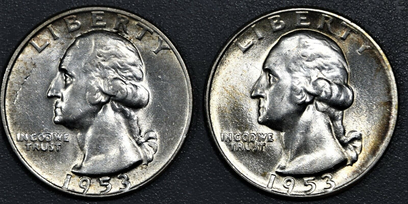 2 25c WASHINGTON SILVER QUARTERS, 1953-D BU , 1953-S AU , SKU-2871 - $14.50