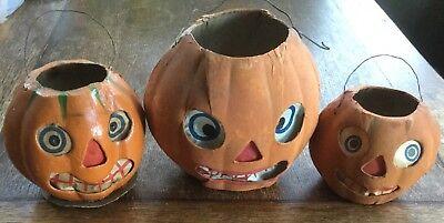 3 - Vintage Halloween Germany German Jack O Lantern Pumpkins