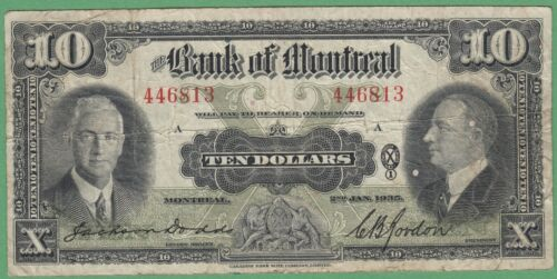 1935 Bank of Montreal $10 Dollars Note - 446813 - VG