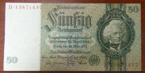 1933 50 Reichsmark Germany Reichsbank Pick 182a UNC Condition - b