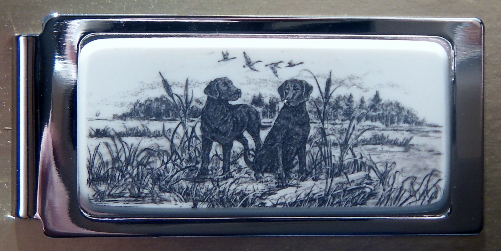 Money Clip Barlow Scrimshaw Carved Painted Art Labs Black...