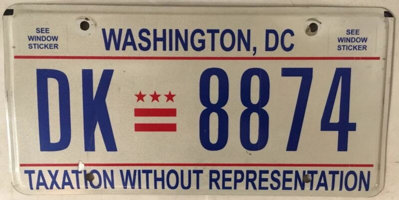 District Columbia Taxation license plate D.C. USA Graphic Washington DC #DK 8874