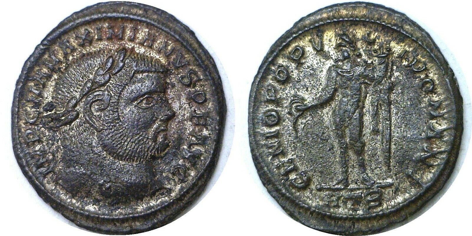 286-305 AD Roman Maximianus Genius Heraclea Large Silvered Follis 10.54 Grams