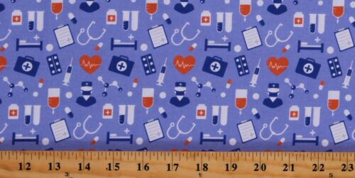 Cotton Medical Equipment Nurses First Aid Fabric Print by the Yard D511.44