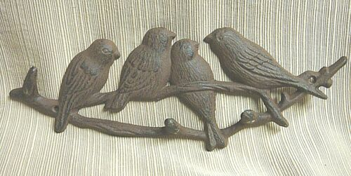 SPARROWS on a BRANCH Cast Iron Wall Hooks Decor - Pretty & Practical