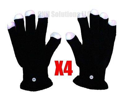 LED Black Gloves Muiticolor Colors Light Show Gloves - 4 Set