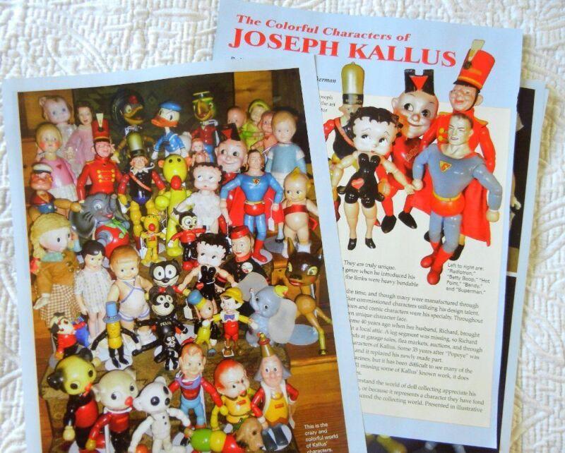 17p History Article  - VTG Joseph Kallus Wooden Character Dolls Toys